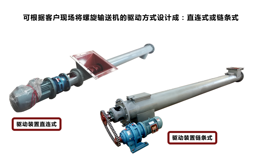 管式螺旋输送机驱动装置根据用户现场工艺需求,可设计生产直连式或链条连接方式